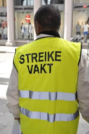 Streikevakt (Foto: Ane Børrud, Arbeidsmanden)