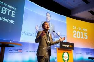Landsmøtet 2015 - SV-leder Audun Lysbakken hilser
